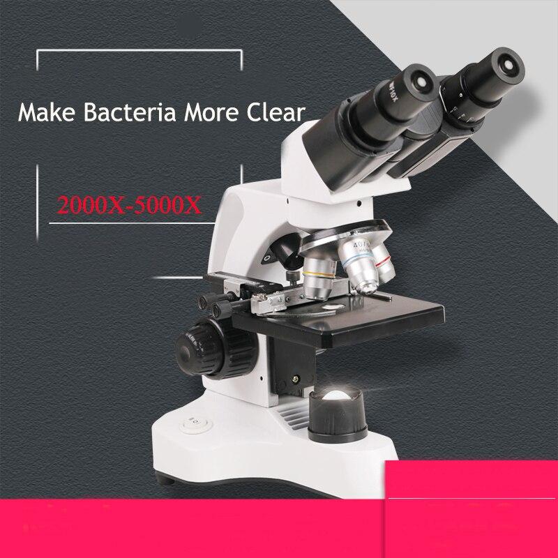 Microscópio 40X-2000X/5000X Biológico Binocular Microscópios Compostos WF 10X/25X Duplo LED Lab com Estágio Mecânico, caixa de armazenamento