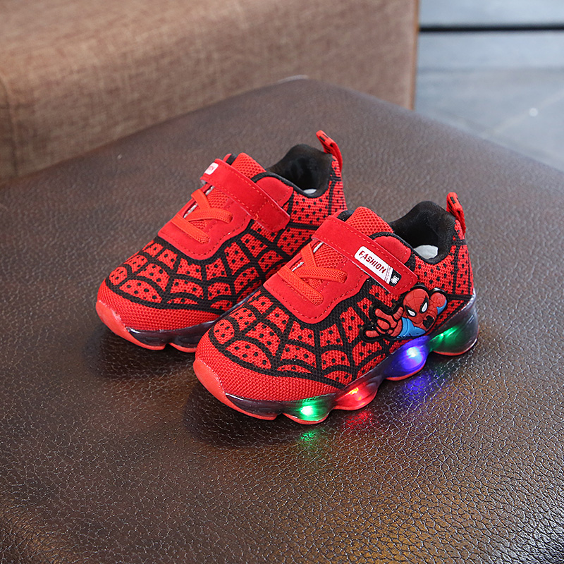 2019 Spiderman Kids Boys Sports Sneakers Children Glowing for Boy Shoes Fashion with LED Light Boy Shoes Kids Sneakers 21-36