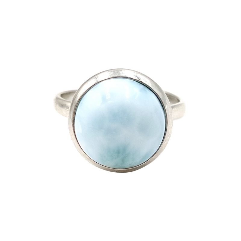 LiiJi Unique Natural Caribbean Blue Larimar 925 Sterling Silver Ring Round Shape Resizable for women or men