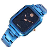 WEIQIN Starry Style Steel Watches Women Square Dial Blue Black Rose Gold Luxury Ladies Quartz Wristwatches relogio feminino