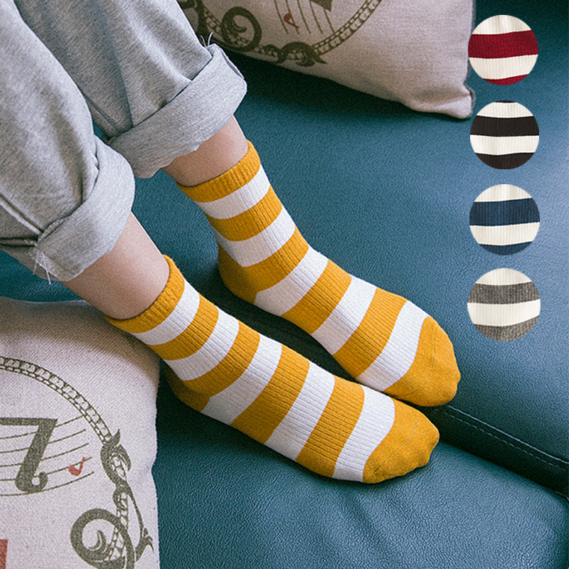 New Women Striped Pattern Cotton Crew   Socks   Harajuku Brand Fashion High Quality Novelty Funny Yellow Casual Cheap Novelty