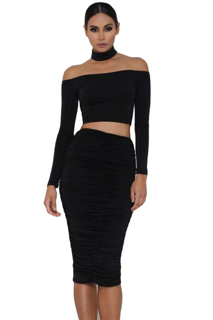 fashion Style Sexy Solid Women's Crop Tops autumn Slash Neck 2017 New Fashion Sleeved Off Shoulder Choker Crop Top LC25870