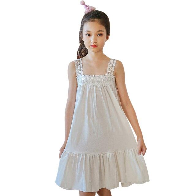 820c761a US $15.5 34% OFF 4 14 lat duże dziewczynki bawełniane i lniane hafty  koronki biały sukienka sling koreański styl księżniczka plaża sukienka ...