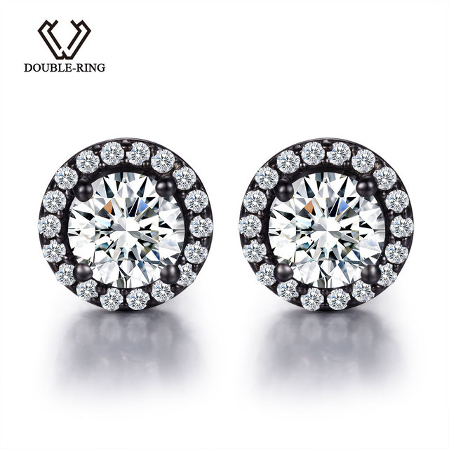 Double R Created White Topaz Stud Earrings 925 Sterling Silver Jewelry Wedding For Women