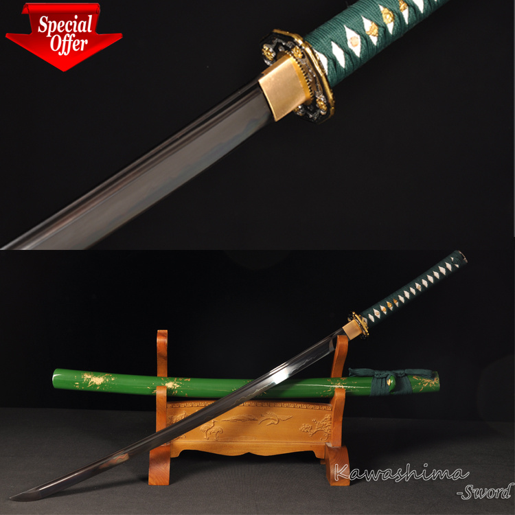 On Sale Lower Price 1095Clay Tempered Katana Handmade Fantasy Sword Full Tang Green Scabbard Sharpness For