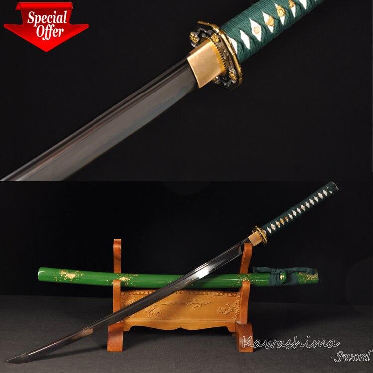 Na sprzedaż niższa cena 1095 glina hartowane Katana ręcznie Fantasy miecz Full Tang zielony pochwa ostrość do cięcia w Miecze od Dom i ogród na  Grupa 1
