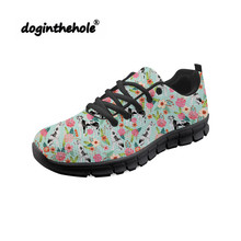 Doginthehole Great Pyrnenees Pattern Walking Shoes Women Outdoor Sports Ladies Sneakers Lace-Up Tennis Hombre High-Quality