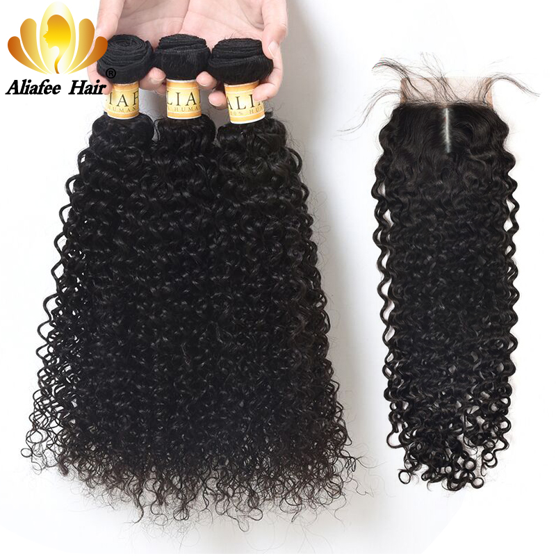 Aliafee Hair Mongolian Kinky Curly Hair Bundles With Closure #1b Color Mongolian Hair Weave Bundles 100% Human Hair 8-28