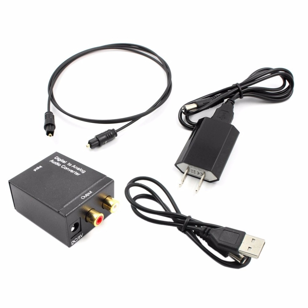 Digital to Analog Audio Converter Adapter Optical Toslink & Coaxial R/L Digital Optical Coax to Analog RCA Audio Converter