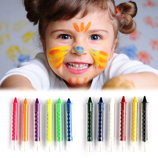 6 Colours Safe Face Body Painting Crayon Kit Kids Drawing Pencils ...
