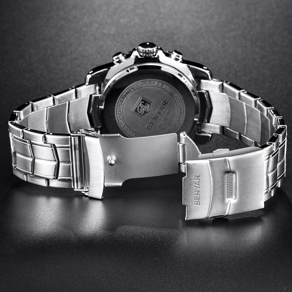 Top Brand Luxury BENYAR Stainless Steel Vattentät Chronograph Sport - Herrklockor - Foto 5