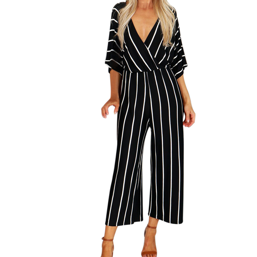 loose Women jumpsuit long pants wid leg stripe summer autumn overalls V-Neck Three Quarter Sleeve jumpsuit sexy bodysuit d90613