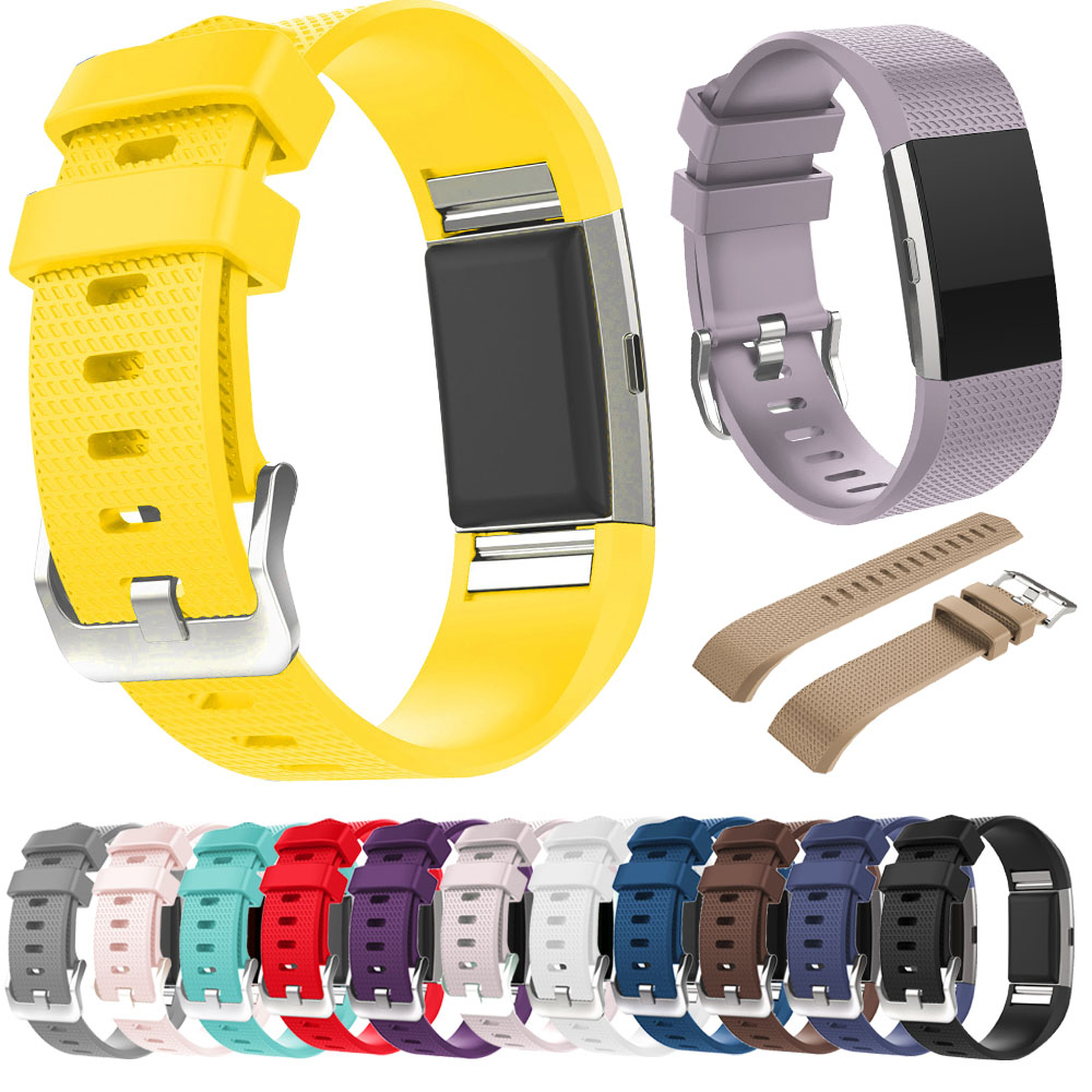 Replacement Silicone Watch Strap Bracelet for Fitbit Charge 2 Sports Smart Watch Black White Band WatchStrap Belt for Fitbit 2 fitbit watch