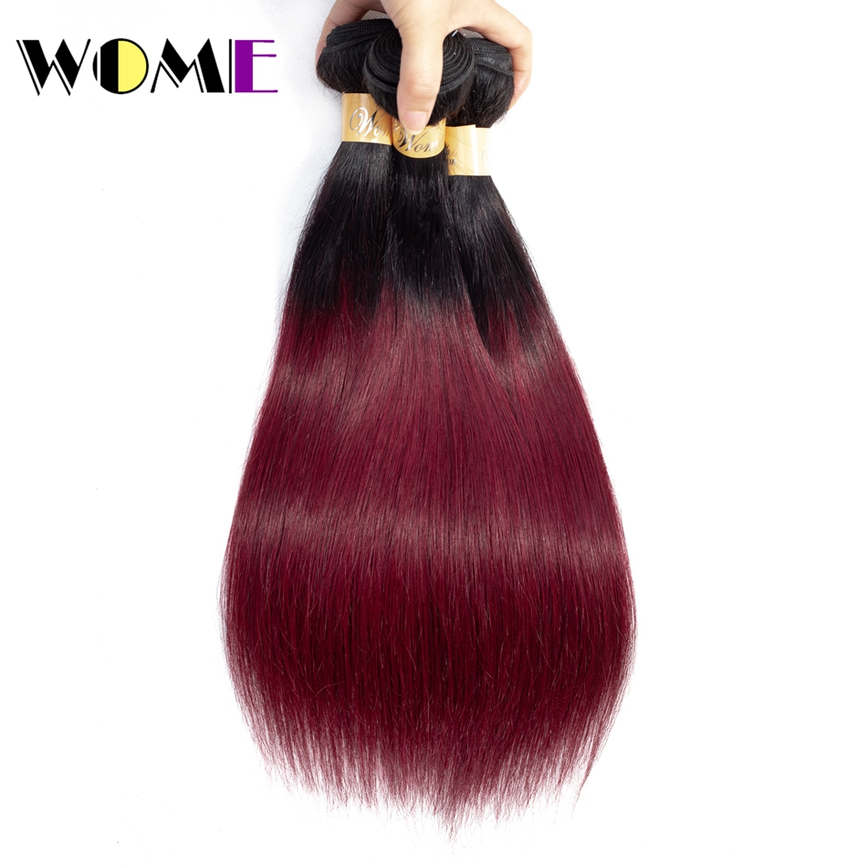 Hair Weaves Industrious Wome T1b/99j Ombre Mongolian Human Hair Weave 2 Tone Color Straight Hair 3 Bundles Black To Red Wine Color Hair Extensions