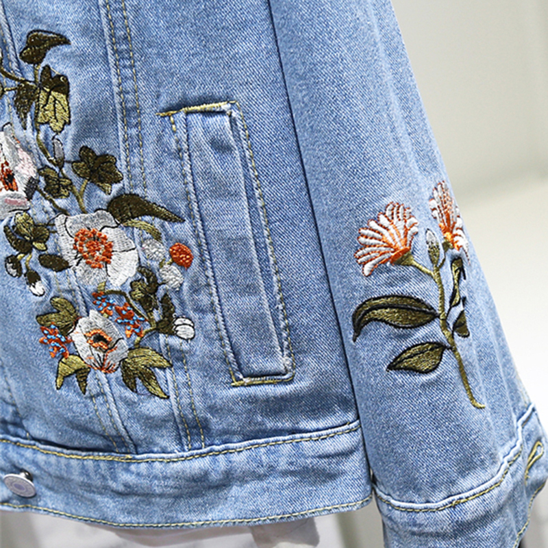 Womens Denim Coat Spring Autumn Embroidery Flower Bomber Jacket New Fashion Leisure Large size 3XL Baseball Outwear Female N713 in Jackets from Women 39 s Clothing