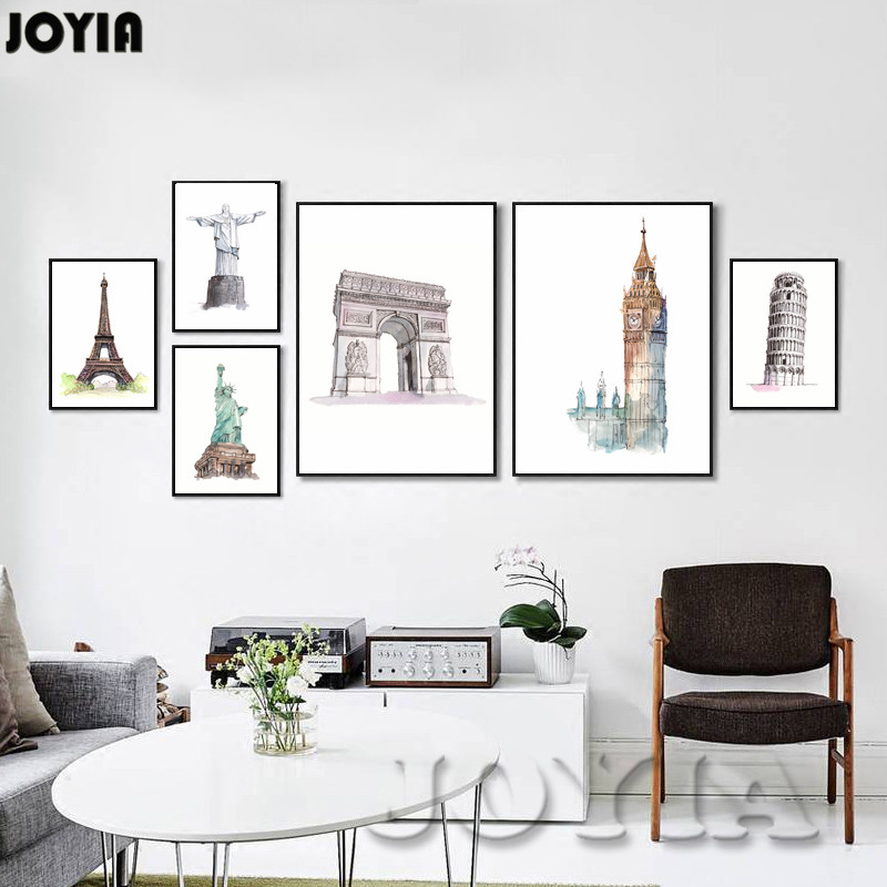 Modern Watercolor Metropolis City Canvas Painting Art Print Poster ...