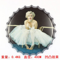 Marilyn Monroe40x40CM Vintage Decoration Beer Bottle Caps Three dimensional Cartoon Metal Painting Wrought Iron Wall Mural