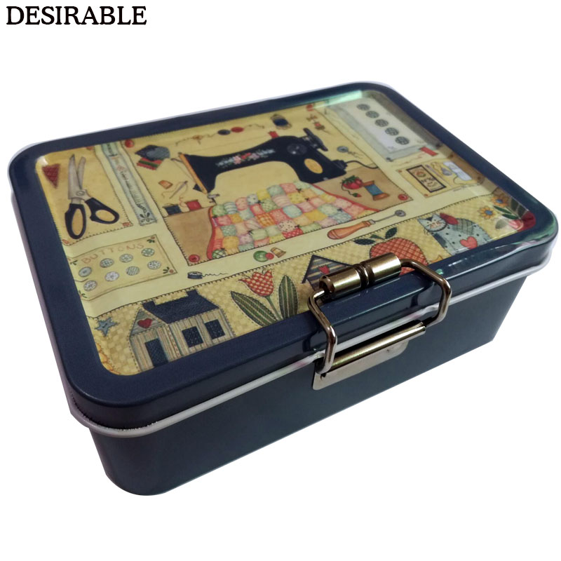 DESIRABLE Portable Exquisite Metal Double-layer Sewing Card And Other Small Items Storage Box Six Colors Optional
