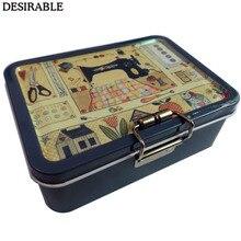 Желательная портативная Изысканная металлическая двухслойная швейная карта и другие мелкие предметы ящик для хранения шесть цветов на выбор
