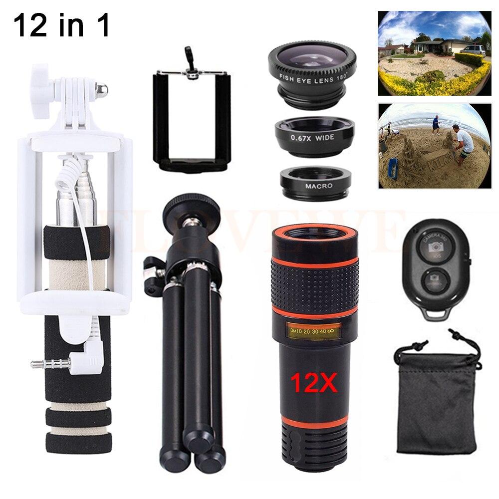 imágenes para 2017 12in1 Kit de lentes de La Cámara 12X Teleobjetivo Zoom Microscopio Telescopio Gran Angular ojo de Pez Macro Lentes Para Smartphone Trípode