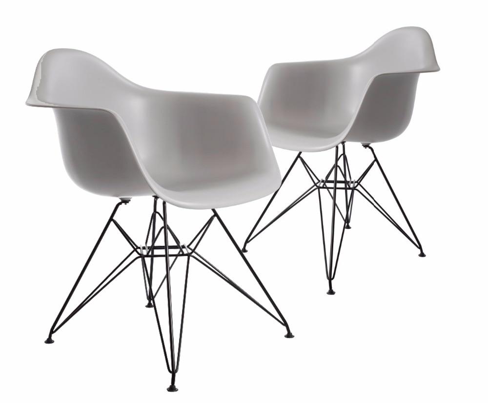 Modern plastic chairs - Black Leg Modern Design Plastic And Powder Coating Black Steel Leg Dining Chair Replica Furniture Cafe Loft Modern Chair 2 Pcs