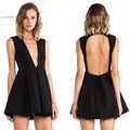 New 2015 Women Dress Deep V neck Backless Mini Dress Pleated Summer Style Beach Dress Vestidos de festa 35