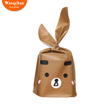 25pcs/lot Brown Bear Plastic Bag Kawaii Happy Birthday Cookie Party Decorations Cute Cartoon Candy Baby Shower