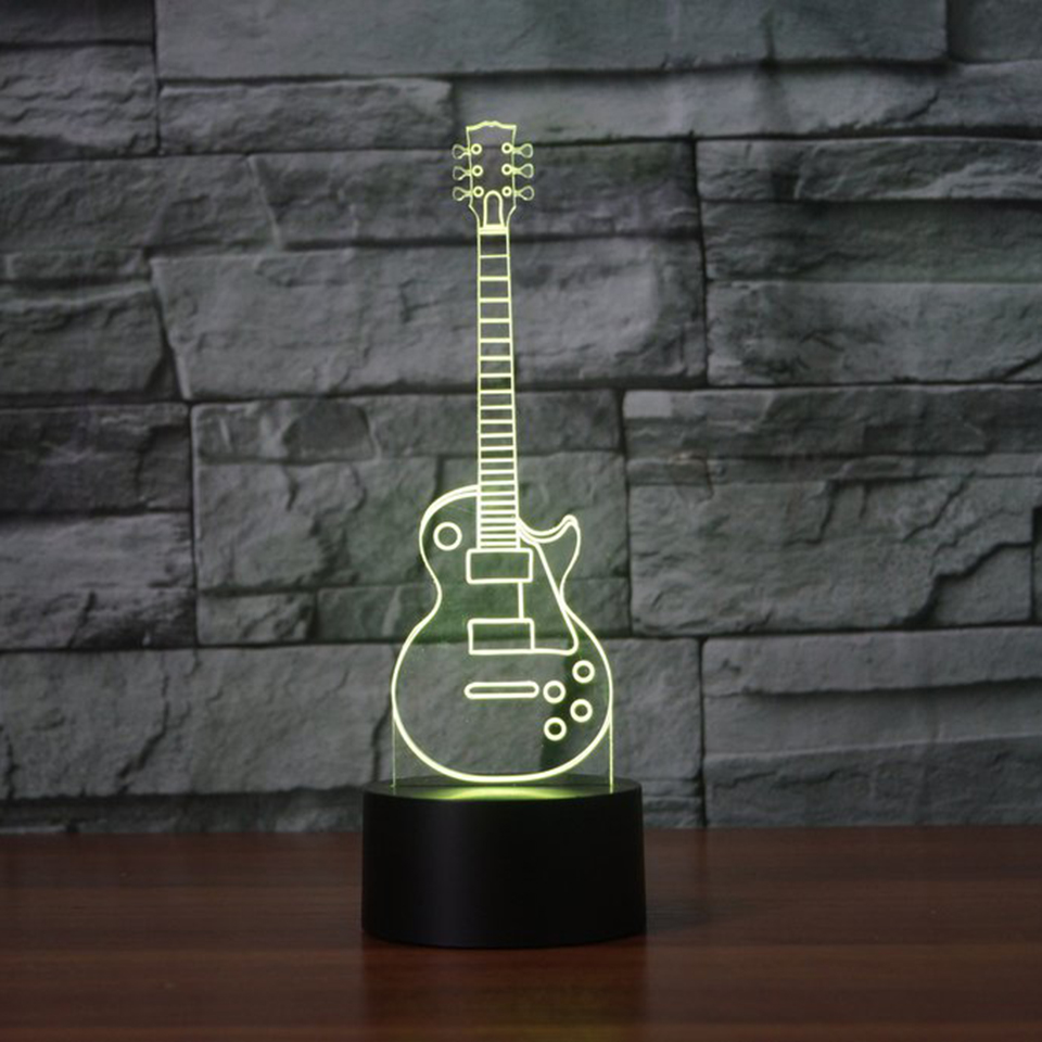 3D Visual Touch Button Rock Guitar Modelling Nightlight Led 7 Color Changing Musical Instruments Table Lamp Usb Sleep Decor Gift