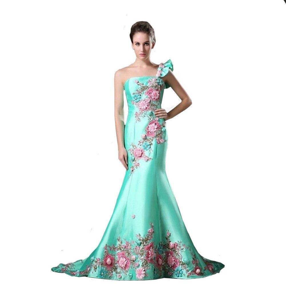 ein strap türkis farbe satin meerjungfrau abendkleid besondere blumen  bodenlangen frauen formales kleid benutzerdefinierte größe