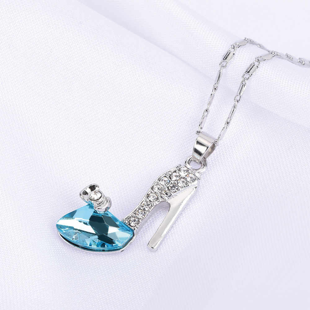 Fashion Cinderella High heel Pendant Women Long Necklace Multicolor Dream Rhinestone Crystal Shoes Romantic Jewelry Accessories