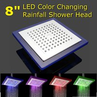 8 Inch LED Color Changing Square Rainfall Bathroom Shower Heads Ceiling Mounted Top Over Head Shower