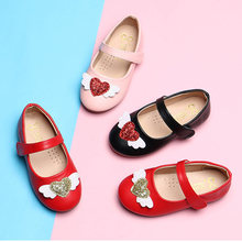Spring New Style Paillette Girls Shoes Pu Leather Kids Shoes Wing Princess Shoes Heart Baby Single Shoe Black Red Pink MCH060(China)