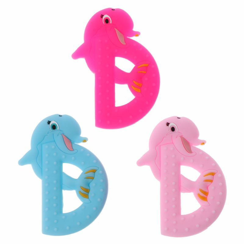 BPA Free 1Pc Baby Teethers Letter D Silicone Teether Beads Food Grade Baby Teething Toys DIY Necklace Pendant