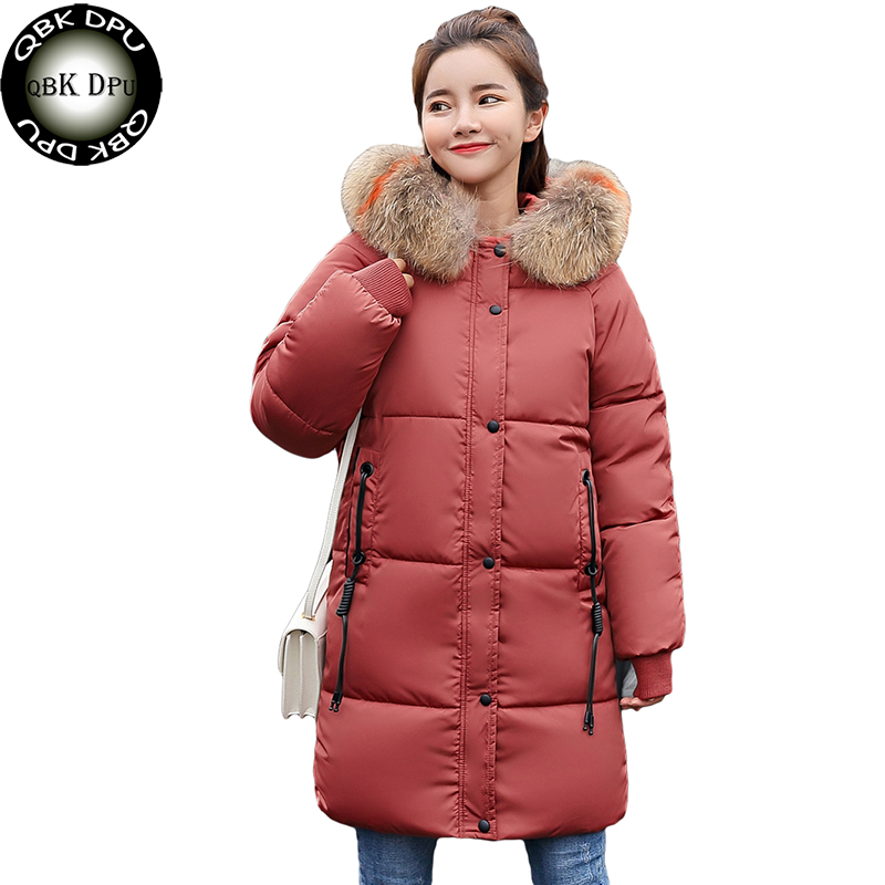 Korea style women's winter jacket hooded  warm thick female cotton wadded coat and plus size 3xl long parkas with fur collar