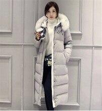 Fur Collar Hooded Down Cotton Padded Women Winter Down&Parka Winter Jackets Women Winter Clothing Long Coats Female Wadded TT125