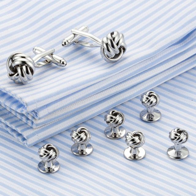 Vagula Metal Knot Cufflinks Collar Studs 8pcs Top Tuxedo Cuff Links Jewelry 536