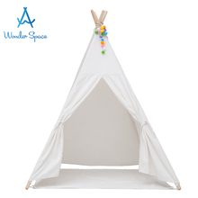 Kids Teepee Play Tent 100% Cotton Canvas Barn Tipi Playhouse Indoor Room Utomhus Toy Boys Girls Baby Present Råvita Med Matta