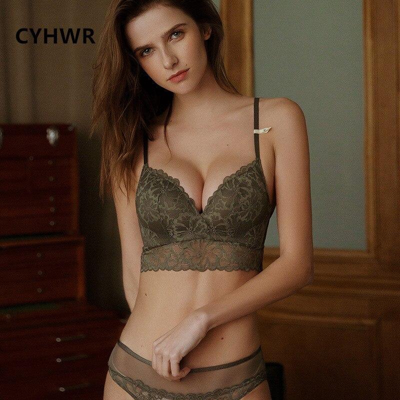 CYHWR Underwear-Set Lingerie Panty S-Xl-Bra-Set Wire Free-Bra Seamless Comfortable Push-Up