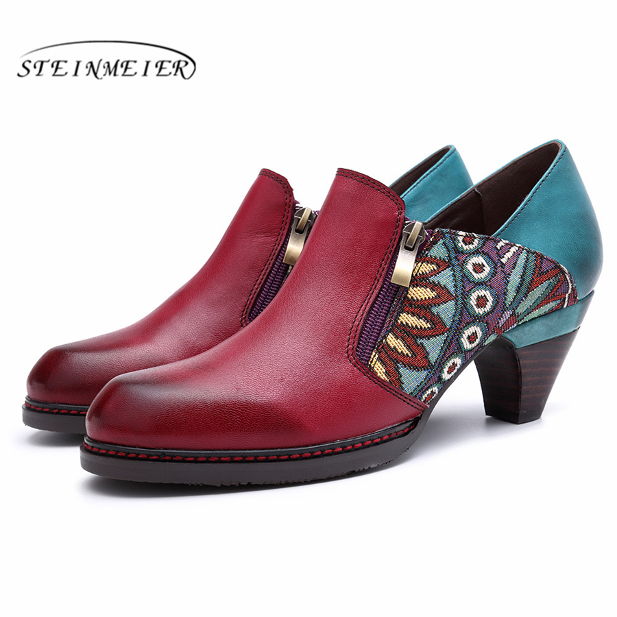 Cuero de vaca genuino Retro de la mujer bombas zapatos casuales mujeres vintage hecho a mano zapatos de oxford para las mujeres rojo de la primavera de 2019-in Zapatos de tacón de mujer from zapatos    1