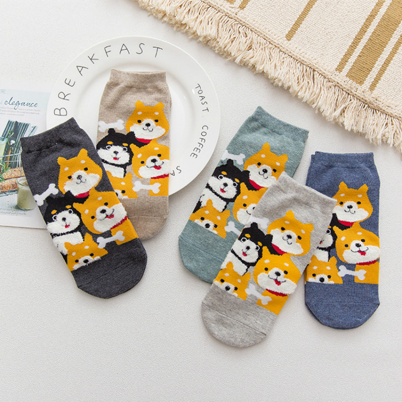 Women New Cotton   Socks   All Season Fashion Cartoon Solid Color Jacquard Cartoon Pattern Ladies Simple Comfortable   Socks   SA-09