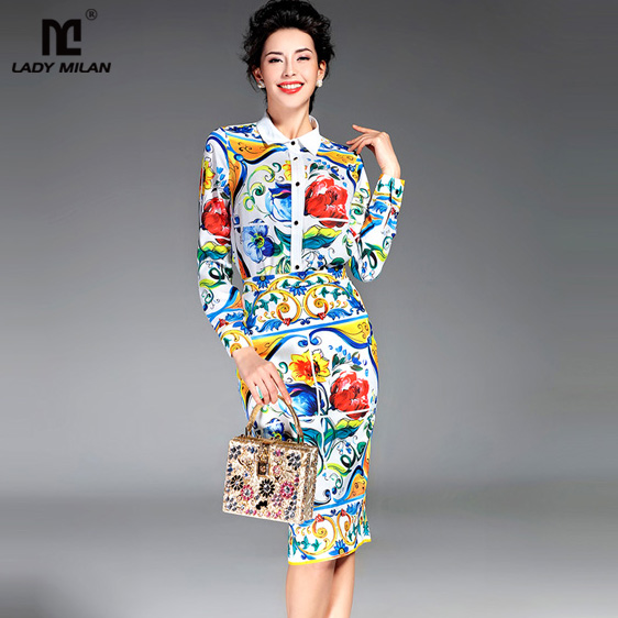 New Arrival 2018 Spring Womens Turn Down Collar Long Sleeves Printed Shirts with Floral Pencil Skirts Fashion Runway Twinsets