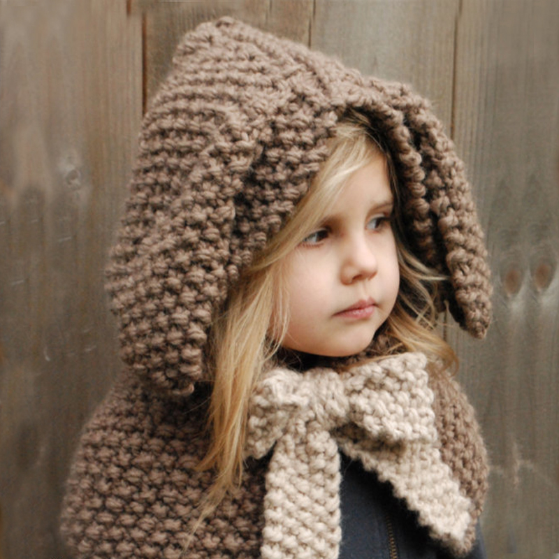 Cartoon Rabbit Hat Cute Funny Rabbit Handmade Knitted Caps Winter Boy Girl Hats Children Warm Knitted Hooded Scarf Cap Kids Gift