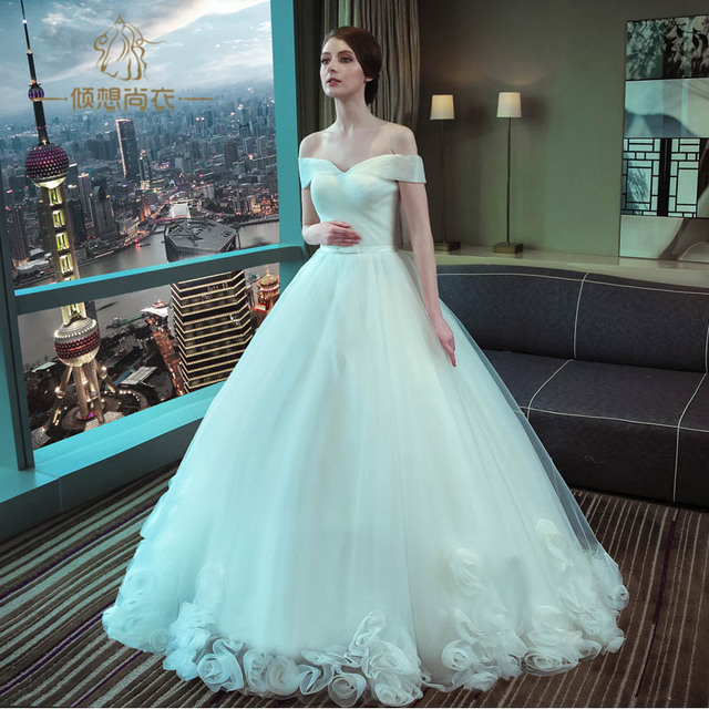 Sexy Wedding Dresses 2017 Laciness Puff Wedding Dress Ball Gown Off