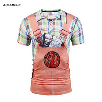 Aolamegs 3D T Shirt Men Casual Creative Bib Overalls Devil Fake Two Pieces Printing Short Sleeve