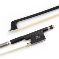 Kmise Violin Bow 4/4 Carbon Fiber Round Stick Horse Hair Ebony Frog with Metal Heelplate Black for Beginner Practice