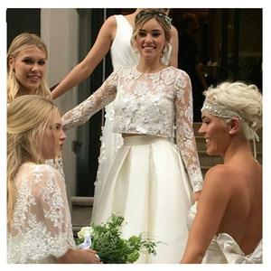 Image 4 - LORIE vestido de novia de dos piezas, manga larga, corte en A, con parte superior de encaje, Blanco nupcial, marfil, longitud hasta el suelo, 2021