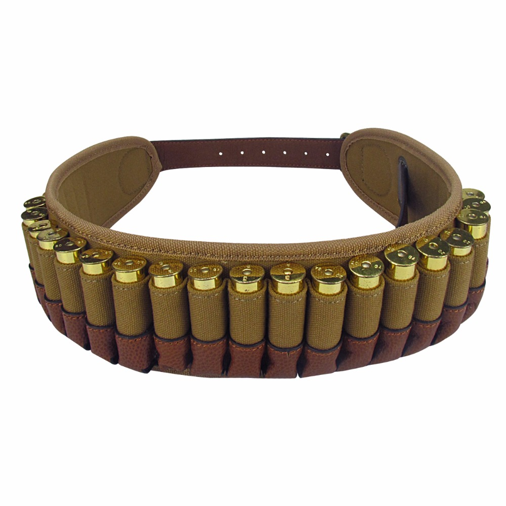 Tourbon Hunting Gun Accessories Shotgun Cartridge Ammo Belt Holds 25 Shells 20 Gauge Adjustable Bandoleer for Shooting Wholesale tourbon tactical rifle gun sling with swivels shotgun carrying shoulder strap black genuine leather belt length adjustable