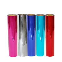 0.5x25m Metallic Foil Iron on Heat Transfer Vinyl Starter Bundle for T shirts and Other Fabrics, 20 inches by 82feet, 17 Colors