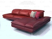 牛本革ソファ断面リビングルームホーム家具ソファーl形状機能背もたれとアームレスト現代
