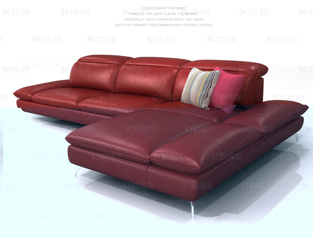 cow genuine leather sofa sectional living room sofa corner home furniture couch L shape functional backrest and armrest modern